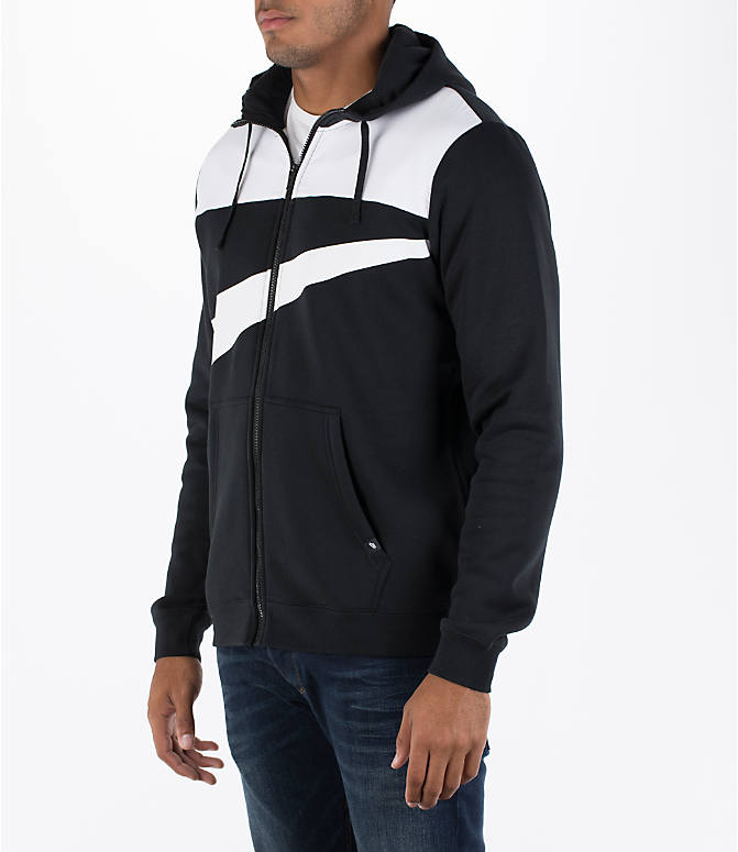 Front Three Quarter view of Men's Nike Hybrid Full-Zip Hoodie in Black