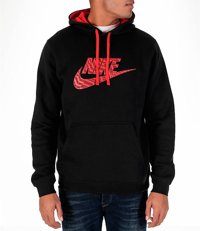 Front view of Men's Nike Sportswear Club Graphic Hoodie in Black