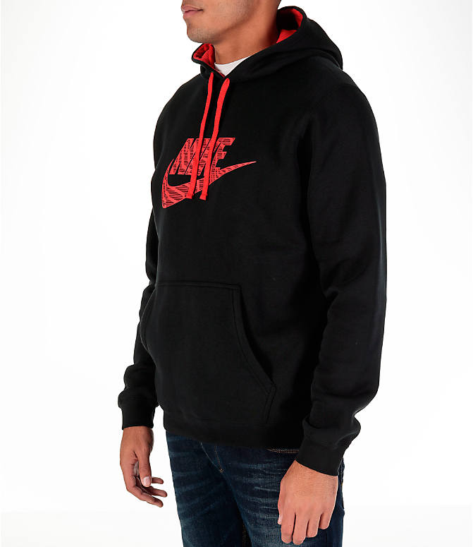 Front Three Quarter view of Men's Nike Sportswear Club Graphic Hoodie in Black