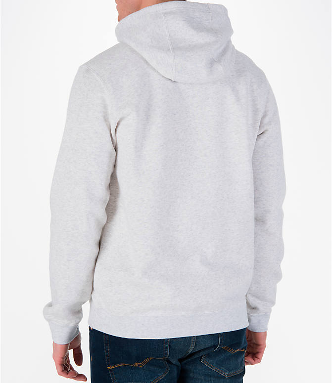 Back Left view of Men's Nike Sportswear Club Graphic Hoodie in Birch Heather/Black