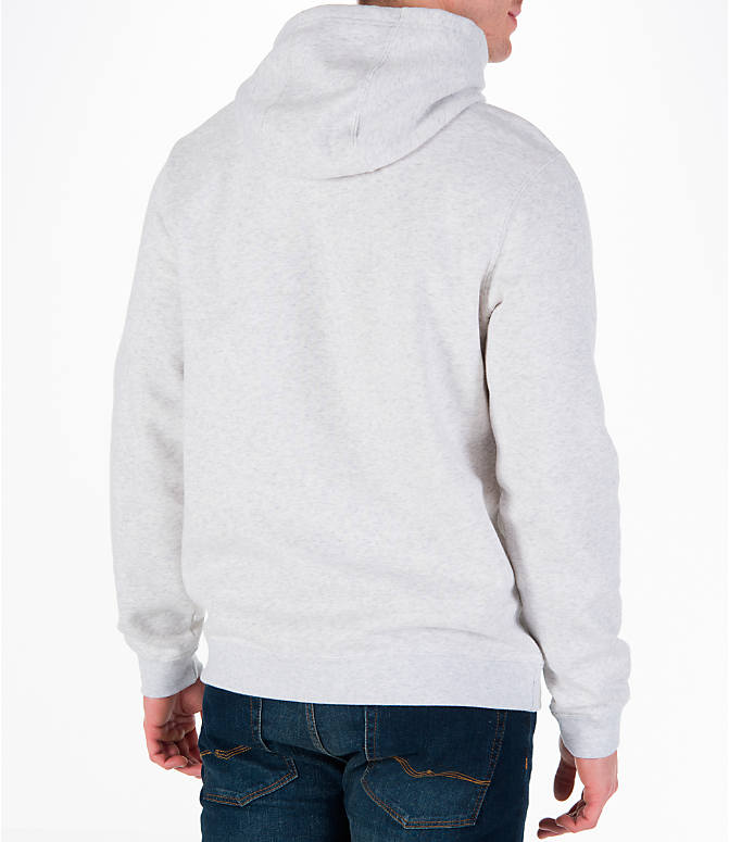 Back Right view of Men's Nike Sportswear Club Graphic Hoodie in Birch Heather/Black