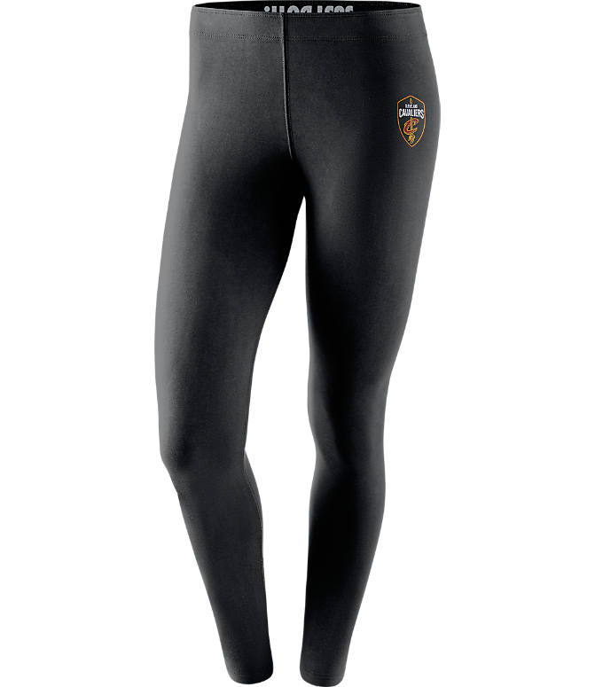Front view of Women's Nike Cleveland Cavaliers NBA Leg-A-See Tights in Black/Team