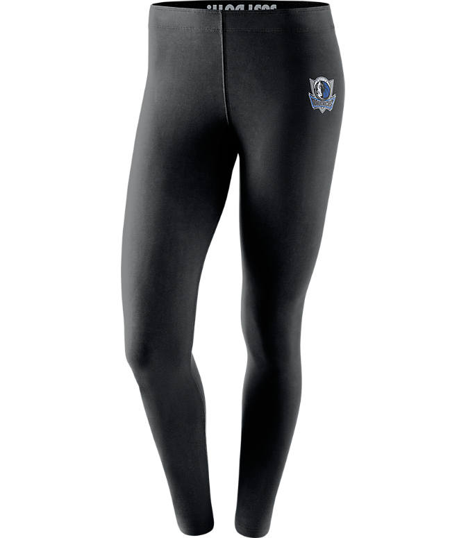 Front view of Women's Nike Dallas Mavericks NBA Leg-A-See Tights in Black/Team
