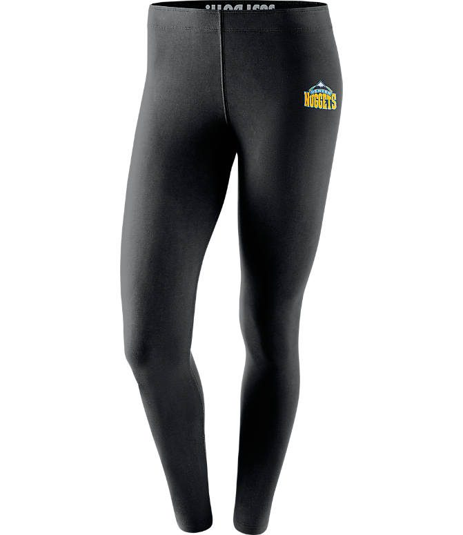 Front view of Women's Nike Denver Nuggets NBA Leg-A-See Tights in Black/Team