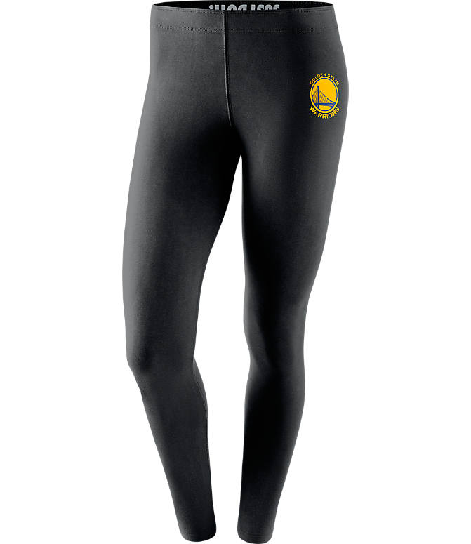 Front view of Women's Nike Golden State Warriors NBA Leg-A-See Tights in Black/Team