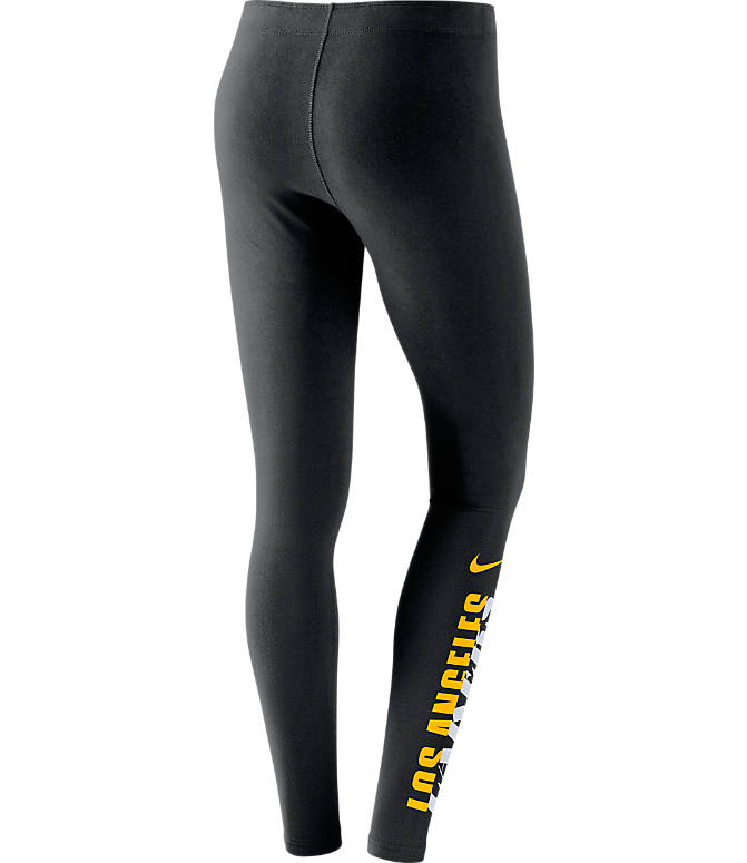 Back view of Women's Nike Los Angeles Lakers NBA Leg-A-See Tights in Black/Team