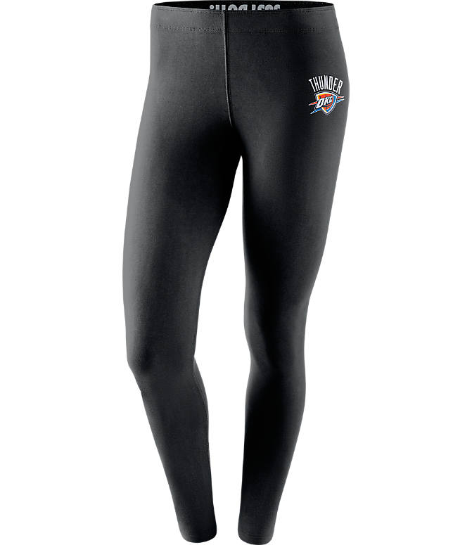 Front view of Women's Nike Oklahoma City Thunder NBA Leg-A-See Tights in Black/Team