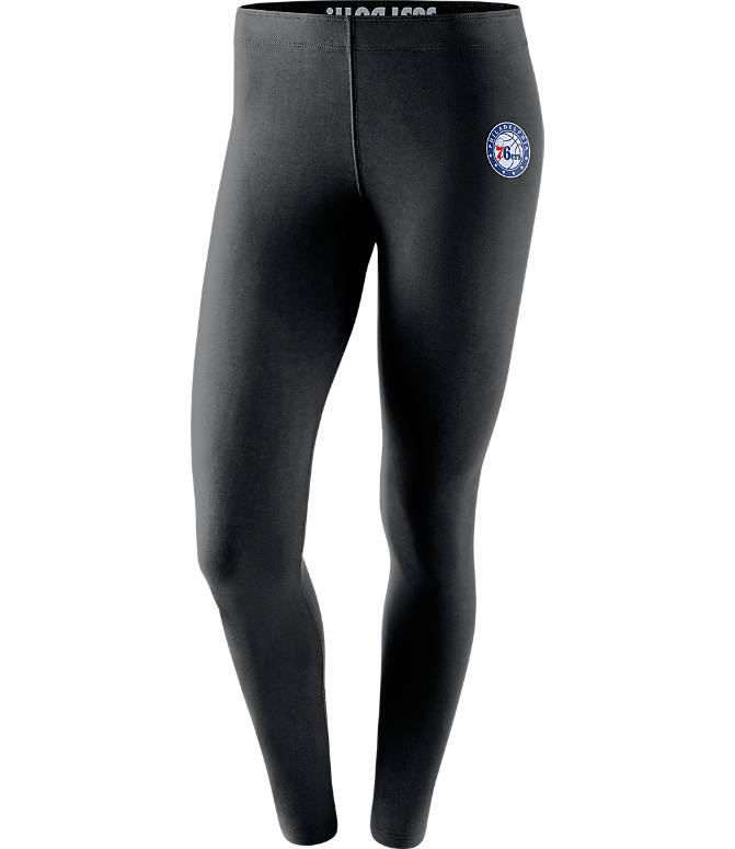 Front view of Women's Nike Philadelphia 76ers NBA Leg-A-See Tights in Black/Team