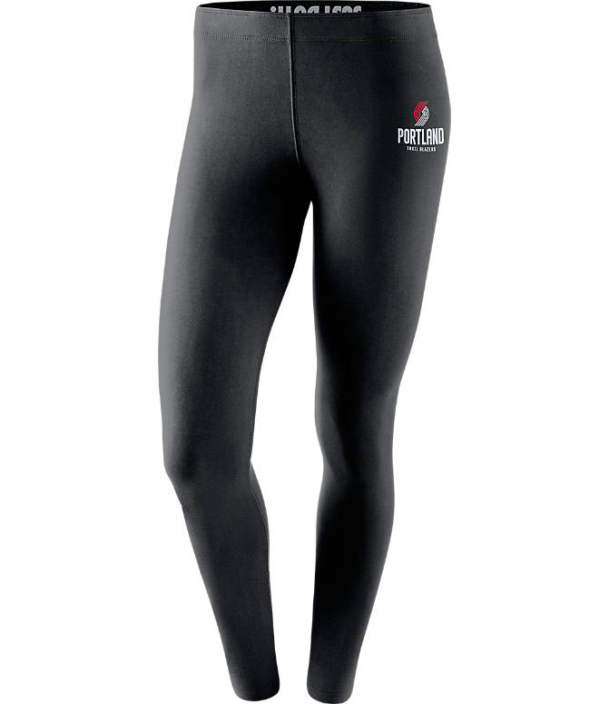 Front view of Women's Nike Portland Trail Blazers NBA Leg-A-See Tights in Black/Team