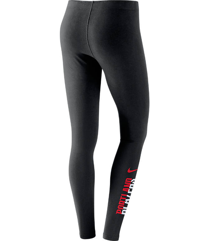 Back view of Women's Nike Portland Trail Blazers NBA Leg-A-See Tights in Black/Team