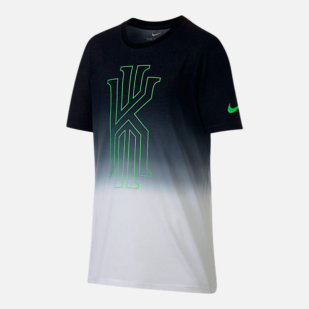 Front view of Boys' Nike Dry Kyrie Fade T-Shirt in Black/White