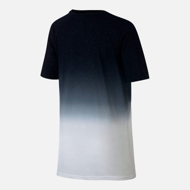 Back view of Boys' Nike Dry Kyrie Fade T-Shirt in Black/White