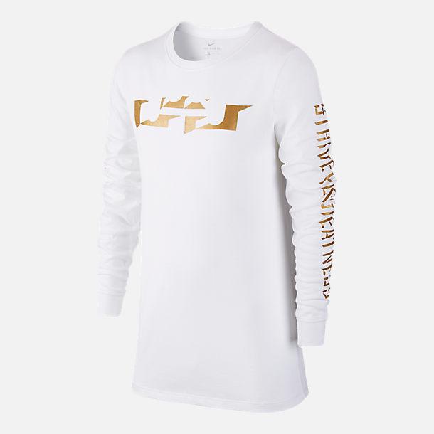 Boys 39 nike dry lebron logo long sleeve t shirt finish line for Lebron shirts for sale