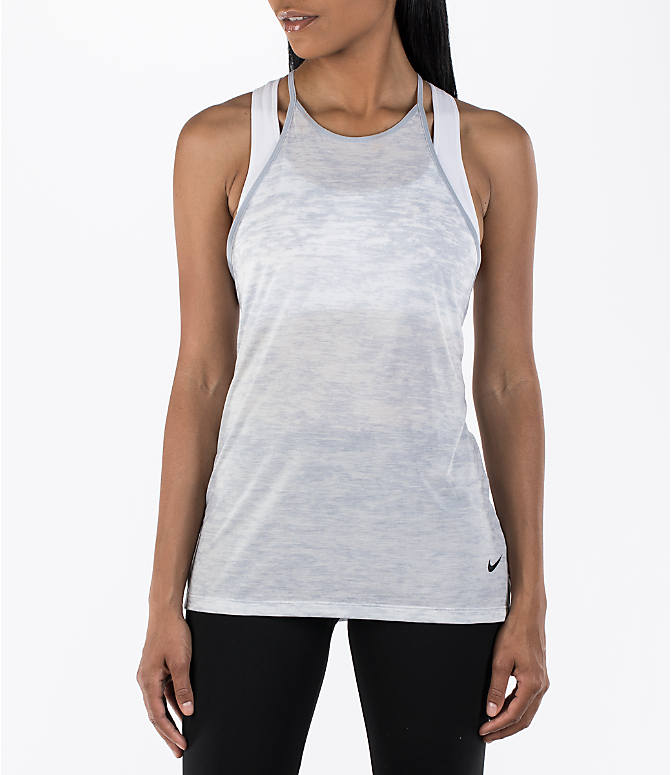 Front view of Women's Nike Breathe Training Tank in Wolf Grey/Black