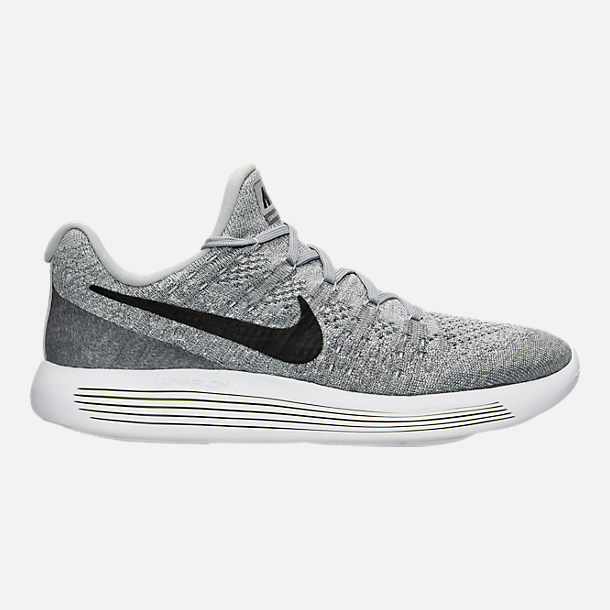 Right view of Men's Nike LunarEpic Low Flyknit 2 Running Shoes in Black/Dark Grey/Racer Blue