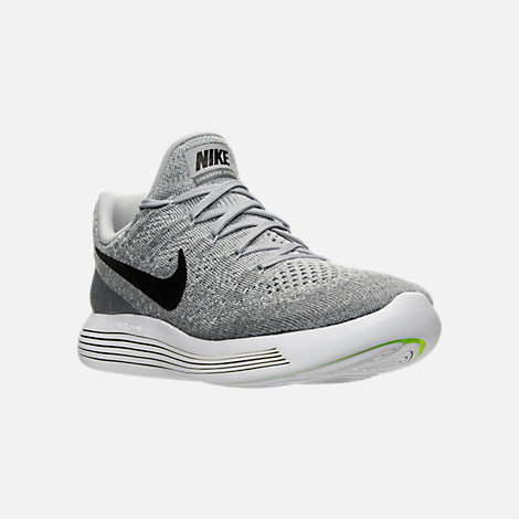 Three Quarter view of Men's Nike LunarEpic Low Flyknit 2 Running Shoes in Black/Dark Grey/Racer Blue