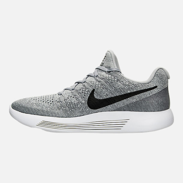 Left view of Men's Nike LunarEpic Low Flyknit 2 Running Shoes in Black/Dark Grey/Racer Blue