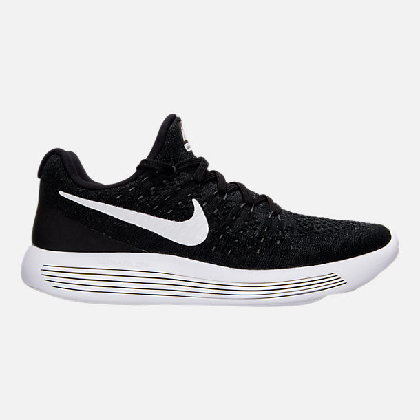 Right view of Women's Nike LunarEpic Low Flyknit 2 Running Shoes in  Black/White/