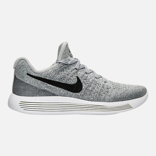 Right view of Women's Nike LunarEpic Low Flyknit 2 Running Shoes in Wolf Grey/Black/Cool Grey/Pure Platinum