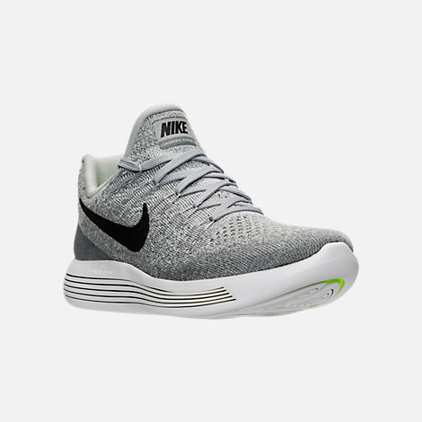 Three Quarter view of Women's Nike LunarEpic Low Flyknit 2 Running Shoes in  Wolf Grey/