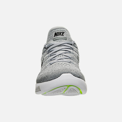Front view of Women's Nike LunarEpic Low Flyknit 2 Running Shoes in Wolf Grey/Black/Cool Grey/Pure Platinum