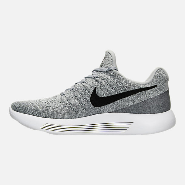 Left view of Women's Nike LunarEpic Low Flyknit 2 Running Shoes in Wolf Grey/Black/Cool Grey/Pure Platinum