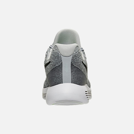 Back view of Women's Nike LunarEpic Low Flyknit 2 Running Shoes in Wolf Grey/Black/Cool Grey/Pure Platinum