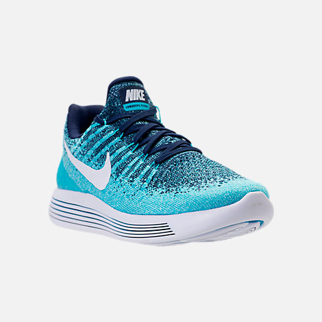 Three Quarter view of Women's Nike LunarEpic Low Flyknit 2 Running Shoes in Binary Blue/White/Polarized Blue