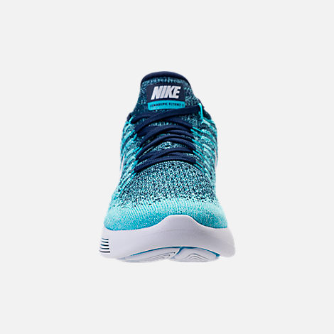 Front view of Women's Nike LunarEpic Low Flyknit 2 Running Shoes in Binary Blue/White/Polarized Blue