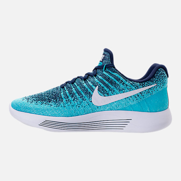 Left view of Women's Nike LunarEpic Low Flyknit 2 Running Shoes in Binary Blue/White/Polarized Blue