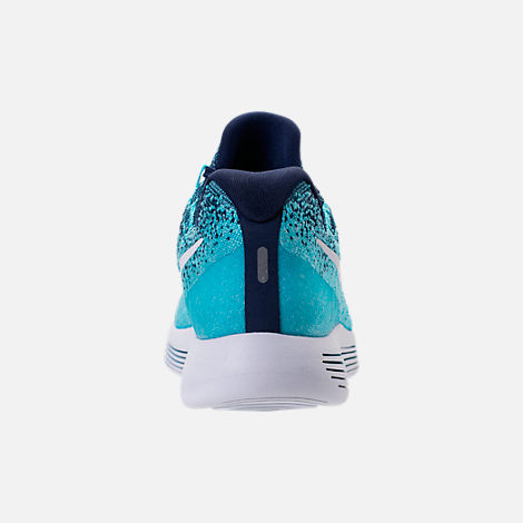 Back view of Women's Nike LunarEpic Low Flyknit 2 Running Shoes in Binary Blue/White/Polarized Blue