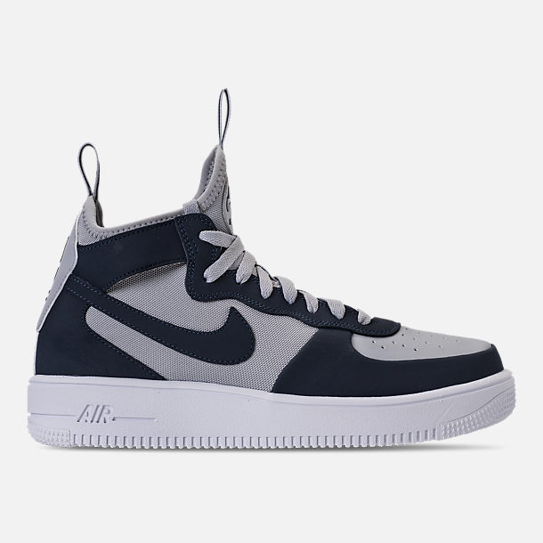 Right view of Men's Nike Air Force 1 Ultraforce Mid Casual Shoes in Wolf Grey/Obsidian/Black/White