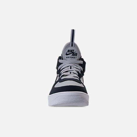 Front view of Men's Nike Air Force 1 Ultraforce Mid Casual Shoes in Wolf Grey/Obsidian/Black/White
