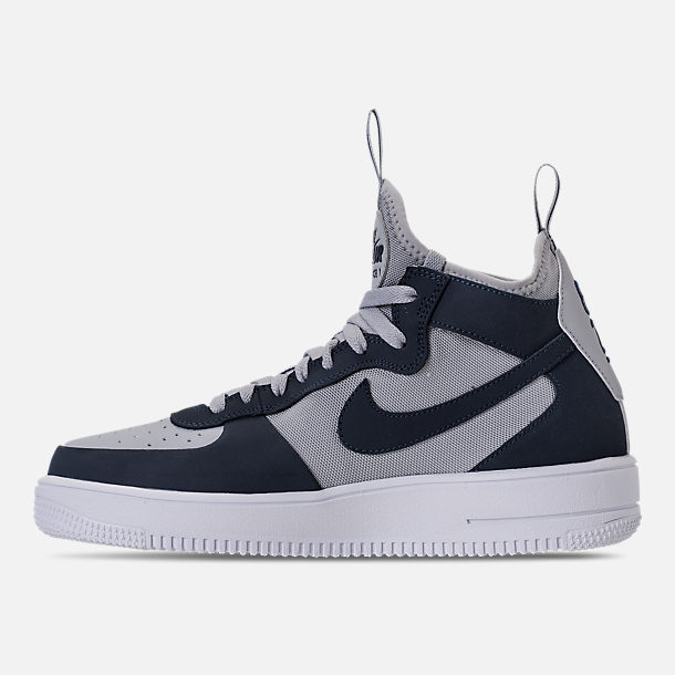 Left view of Men's Nike Air Force 1 Ultraforce Mid Casual Shoes in Wolf Grey/Obsidian/Black/White