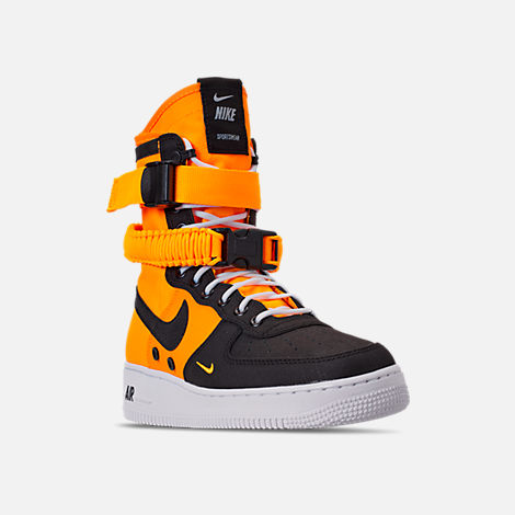 Three Quarter view of Men's Nike SF Air Force 1 Boots in Laser Orange/Black/White