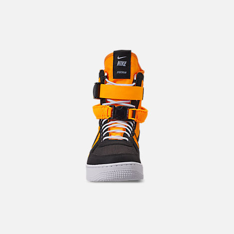 Front view of Men's Nike SF Air Force 1 Boots in Laser Orange/Black/White