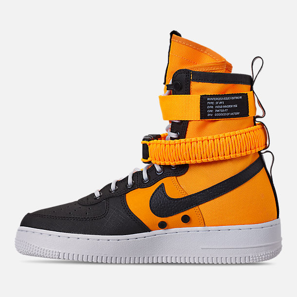 Left view of Men's Nike SF Air Force 1 Boots in Laser Orange/Black/White