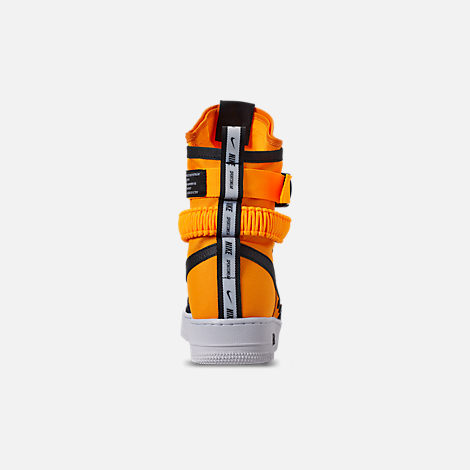 Back view of Men's Nike SF Air Force 1 Boots in Laser Orange/Black/White