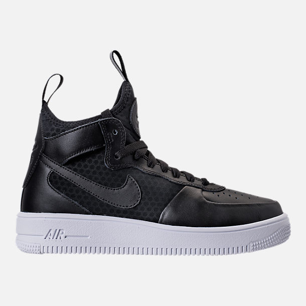 Right view of Women's Nike Air Force 1 Ultraforce Mid Casual Shoes in Black/Black/White