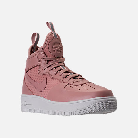 Three Quarter view of Women's Nike Air Force 1 Ultraforce Mid Casual Shoes in Particle Pink/Sail