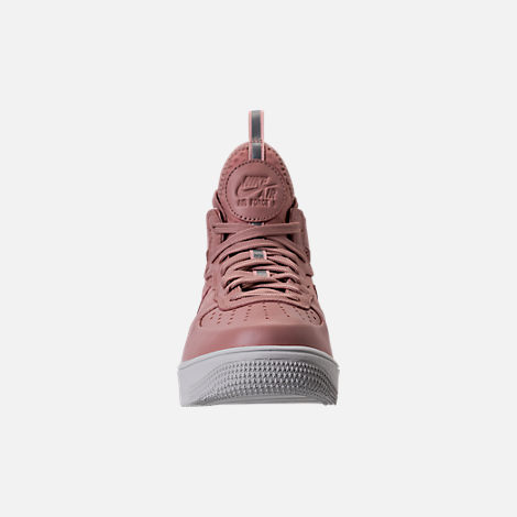 Front view of Women's Nike Air Force 1 Ultraforce Mid Casual Shoes in Particle Pink/Sail