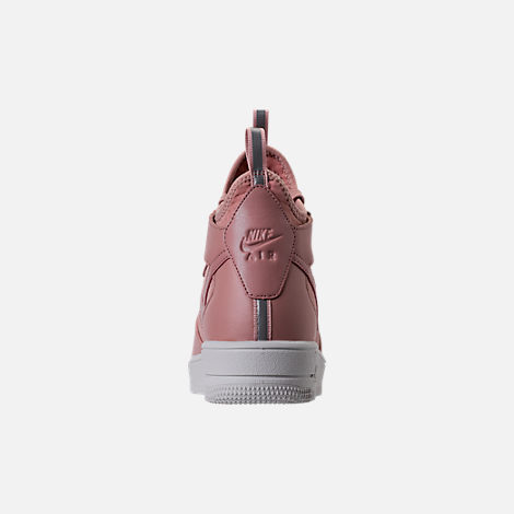 Back view of Women's Nike Air Force 1 Ultraforce Mid Casual Shoes in Particle Pink/Sail