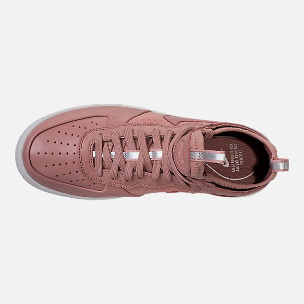 Top view of Women's Nike Air Force 1 Ultraforce Mid Casual Shoes in Particle Pink/Sail