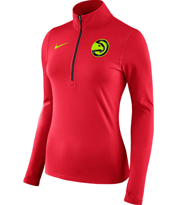 Front view of Women's Nike Atlanta Hawks NBA Dry Element Half-Zip Top in Team Colors