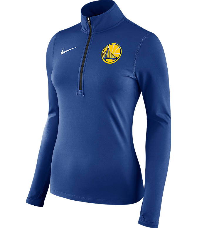 Front view of Women's Nike Golden State Warriors NBA Dry Element Half-Zip Top in Team Colors