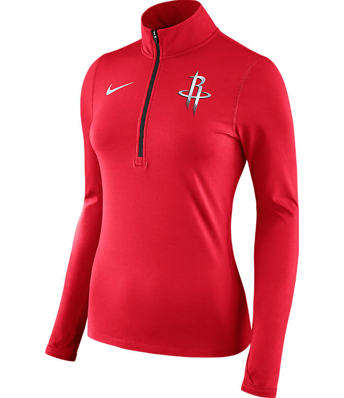 Front view of Women's Nike Houston Rockets NBA Dry Element Half-Zip Top in Team Colors