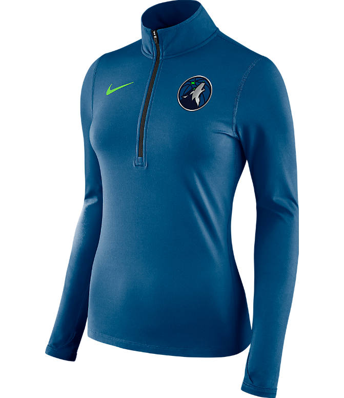 Front view of Women's Nike Minnesota Timberwolves NBA Dry Element Half-Zip Top in Team Colors