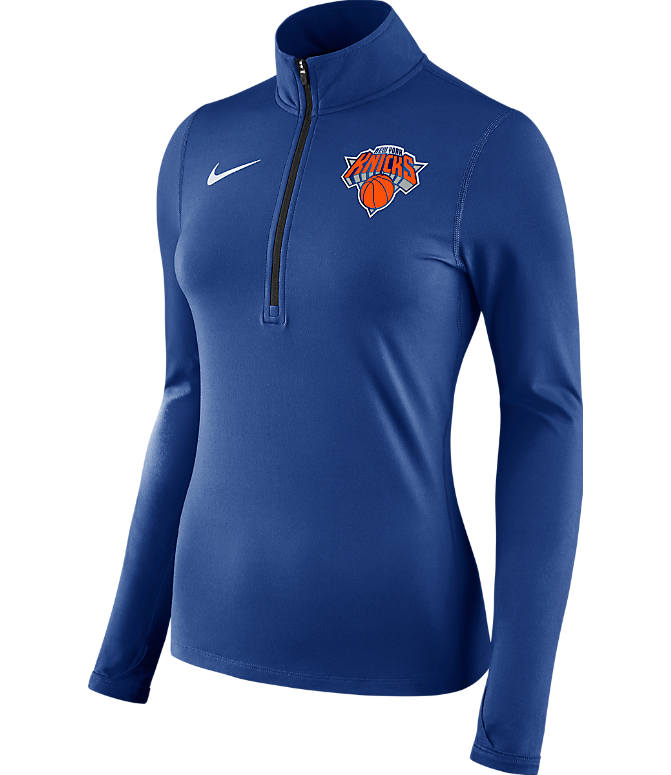 Front view of Women's Nike New York Knicks NBA Dry Element Half-Zip Top in Team Colors