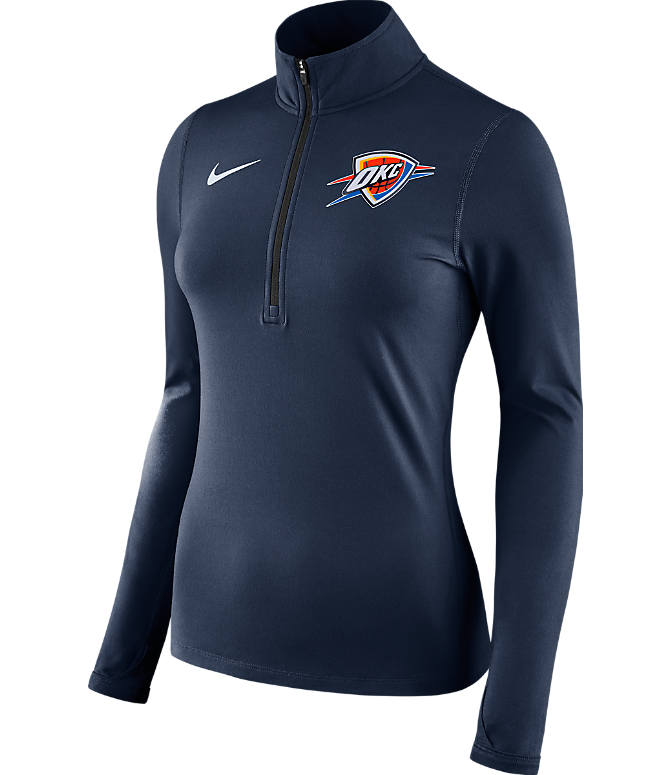 Front view of Women's Nike OKlahoma City Thunder NBA Dry Element Half-Zip Top in Team Colors