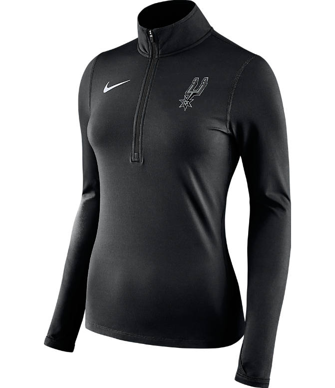 Front view of Women's Nike San Antonio Spurs NBA Dry Element Half-Zip Top in Team Colors